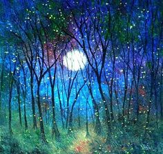 Jean Vadal Smith Spring Firefly Landscape 8 x 10 Print Fantasy Landscape, Fantasy Art, Firefly Painting, Dark Tree, Mermaids And Mermen, Wolf Moon, Beautiful Moon, Moon Art, Light Painting