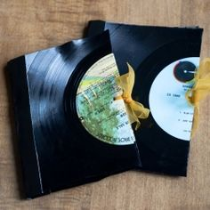 See how to make a little notebook using a vinyl record!