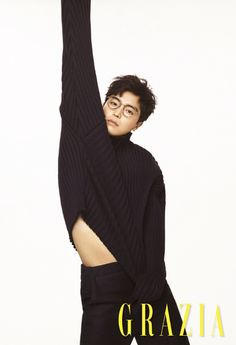 "Yeon Woo Jin, star of the currently running ""Introverted Boss"" showed up in the pages of Grazia looking a bit too thin but fine…and a bit dorky. Check it out! Source  