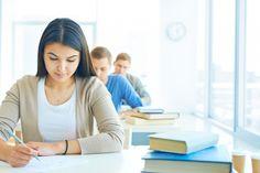 estudiantes, examen, universitarios, libros, aula, clase