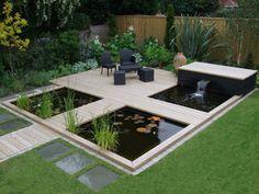 Kleinen Garten Modern Gestalten - Holzboden, Zierkies ... Garten Modern Gestalten