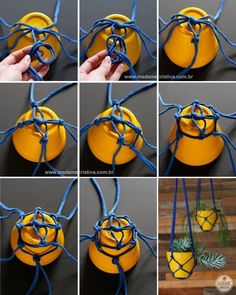 Como fazer vasos pendurados com tiras de malha – Passo a passo com fotos – How … - Was Sie Für Die Party Wissen Müssen Macrame Hanging Planter, Macrame Plant Hangers, Hanging Vases, Diy Y Manualidades, Creation Deco, Macrame Projects, Diy Projects, Macrame Patterns, Garden Crafts