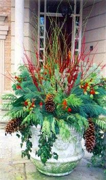 Winter container gardens can be put outside in November and be easily updated by changing the branches with each passing holiday. Think Warm Copper for Thanksgiving, Red and Green for Christmas, Black, Silver, and Gold for New Years, and Icy Blues and Whites for January-Spring. Its your Winter Season decoration and with minimal care and updating, it adds color to your yard for months. You can always stick with neutral toned branches and therefore require no updating for the season.