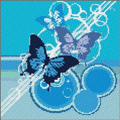 Free Butterfly Cross Stitch Patterns | 366 mm stitch style cross stitch using 2 strands