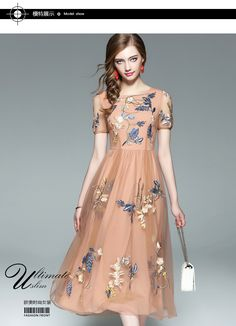 Women Lace Mesh Embroider Floral Dresses 2017 Fashion Summer O-Neck Slim  Sexy  f2a36c836