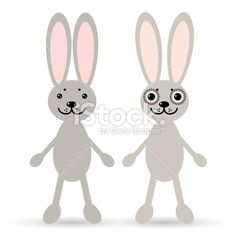 Set of two cute rabbits on white background. Funny bunny. Royalty Free Stock Vector Art Illustration