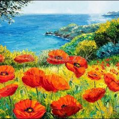 poppies over the sea  46x38 cm Available #OilPaintingBeach