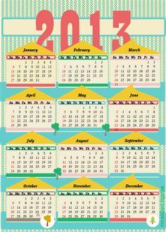 free printable 2013 calendar II – ausdruckbarer Kalender 2013 – freebie   MeinLilaPark – digital freebies