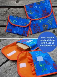 Free DIY sandwich bag and snack bag sewing pattern and tutorial. Easy for kids to open and machine washable. Try this easy beginner sewing project and say goodbye to plastic baggies!
