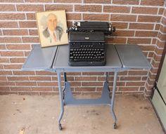 Vtg Mid-Century Industrial Drop Leaf Metal Typewriter Table Stand Gray Rolling