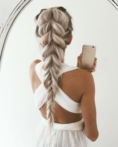 Did a longer pull-through braid to fishtail. I will be showing you more of this style in the next couple of days!