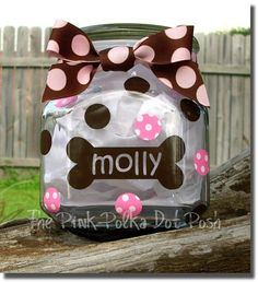 Our Pink Polka Dot Posh™ Dog treat jars, a perfect way to store those treats for your beloved friends! They measure approximately 5 tall and 4