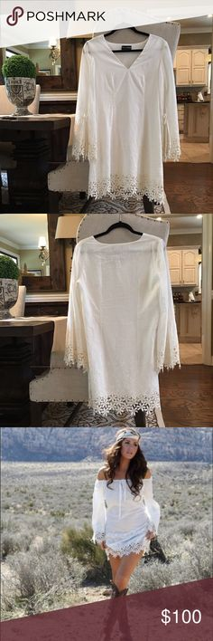 STUNNING White Shift dress White lace dress from Union of Angels. In flawless condition and runs in size Small. Same as worn by the model in the picture provided. However, this dress is not off the shoulder.  ✨ Union of Angels Dresses