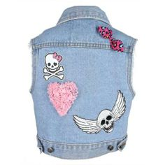 #girly #denimvest by Metallimonsters #cuteskulls #altkidsclothes