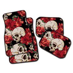 Sexy Red Flower Skull Car Mats