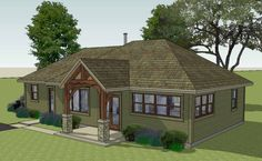 The Brison Newcomb with Hip Roof, 1370 sf Front Deck, Front Yards, Front Porches, Front Entry, Building Plans, Building A House, Roof Styles, House Styles, Porch Roof Design