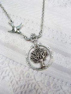Silver Tree Necklace - Tree of Life - Jewelry by BirdzNbeez I just love this!!!!!!!!
