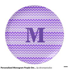 Personalized Monogram Purple Ombre Chevron Girl Party Plates