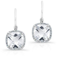 Anne Sisteron  14KT White Gold White Topaz Diamond Cushion Cut... ($780) ❤ liked on Polyvore featuring jewelry, earrings, white, diamond jewelry, earrings jewelry, cushion cut diamond earrings, diamond earring jewelry and diamond jewellery