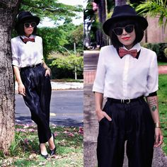 High Waisted Casual Black Pants, Spun Gold Flower Embroidered White Blouse, Black Sunglasses, Acessories - It's quirky in some sense I could do it