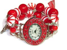Peppermint Twist Christmas Beaded Watch  by BeadsnTime on Etsy