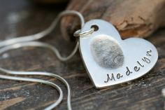 Fingerprint Heart Necklace  Always with you by Joulberry on Etsy, £120.00