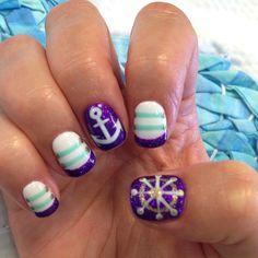 trendy nail Art ideas for summer 2016 Anchor Nail Designs, Anchor Nail Art, Cute Nail Designs, Sexy Nails, Fancy Nails, Pretty Nails, Sailor Nails, Cruise Nails, Nautical Nails