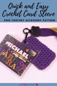 This Quick and Easy Crochet Card Sleeve is a great project for anyone who loves traveling or is always on-the-go. Once completed, you can easily attach it to a keychain or lanyard to take it everywhere you go! Quick Crochet, All Free Crochet, Beginner Crochet Projects, Easy Projects, Sleeve Pattern, Finding Yourself, Make It Yourself, Quick Cards, Crochet Accessories