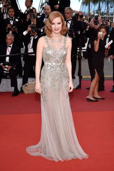 Jessica Chastain channeled modern flapper vibes in a metallic Alexander McQueen gown and Piaget jewels at t...