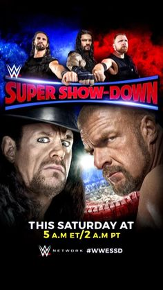 Official WWE poster from WWE Headquarters! Triple H vs. Undertaker Super Show Down Poster! Poster was delivered folded in quarters so there are some creases. Will be shipped folded on the same creases. See photo! Wwe Events, Roman Reigns, Wwe Superstars, Wrestling, Baseball Cards, Fictional Characters, Fandom, Poster