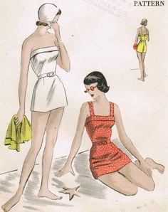 Lovely 1940's Swim wear. Seriously going to find this pattern and make it!