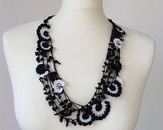 Crochet Statement Necklace, Black and White Necklace, Natural Stone Necklace, Crochet Bib Necklace, Beadwork, ReddApple