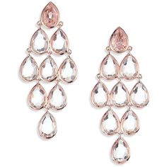 IPPOLITA Rose Rock Candy Clear Quartz Teardrop Chandelier Earrings (1,896 CAD) ❤ liked on Polyvore featuring jewelry, earrings, apparel & accessories, rose gold, rose earrings, rock earrings, tear drop earrings, chandelier earrings and quartz jewelry