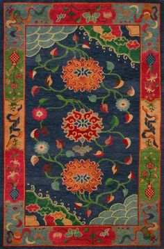 Classic Tibetan Floral (indigo) by A Rug For All Reasons | This rug was made in Tibet (not Nepal where most Tibetan rugs are made for the western market). The quality of these rugs is unsurpassed.