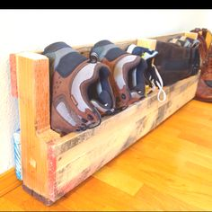 Shoe rack made from a recycled pallet.