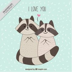 Billedresultat for raccoons colored drawing Cute Animal Drawings, Love Drawings, Colorful Drawings, Raccoon Drawing, Sketches Of Love, Racoon, Love Illustration, Cute Love, Patch