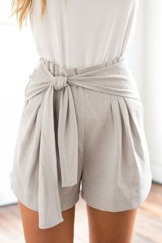 Light Grey High Waisted Shorts w/ Tie Detail