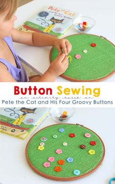 Button Sewing for Preschoolers {a Pete the Cat and His Four Groovy Buttons activity} | Mama.Papa.Bubba.