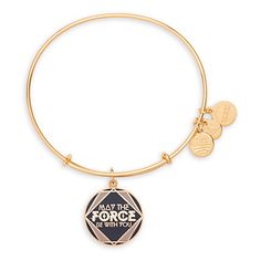 Disney Parks Star Wars May the Force Bangle by Alex & Ani Charm Gold finish