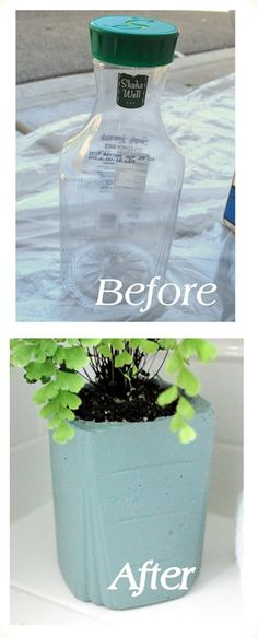 Make concrete planter pots using quick dry cement and a juice container.