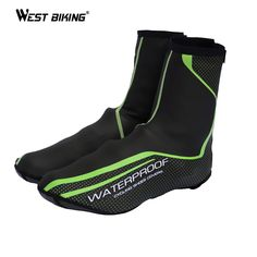 WEST BIKING Smooth Cycling Waterproof Shoe Cover Green Windproof Reflective Dust-proof Sport MTB Bike Bicycle Cycling Shoe Cover