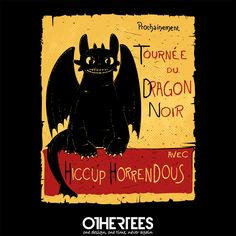 """Dragon Noir"" by Theduc Shirt on sale until 21 June on othertees.com Pin it for a chance at a FREE TEE! #howtotrainyourdragon #chatnoir #lechatnoir #dragons #dragon"