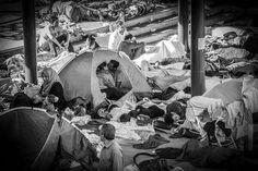 #Réfugiés : l'amour dans la tourmente. Deux réfugiés s'embrassent dans un campement établi dans une gare de Budapest, en Hongrie. Cette touchante image réalisée par le photographe hongrois Zsíros István