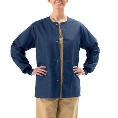 Medline Unisex Navy 2-pocket Warm-up Jacket (X-Large)