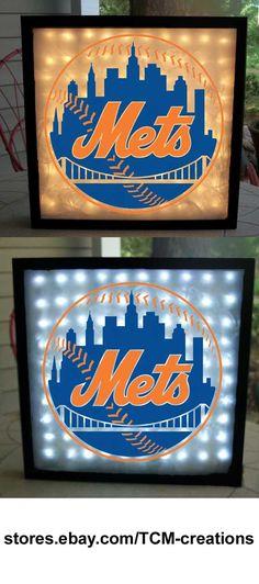 MLB Major League Baseball New York Mets shadow boxes with LED lighting