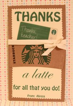Will change to Thanks a latte for being you! for family member Starbucks gifts.