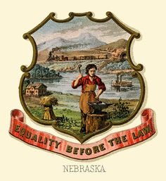 Nebraska state coat of arms (illustrated, 1876)