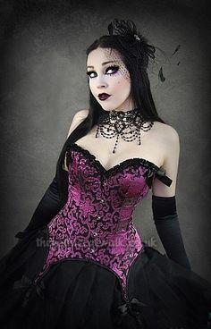 Black & Pink Suspender Corset