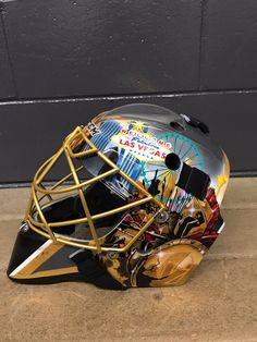 Marc-Andre Fleury's new helmet for the Las Vegas Golden Knights is ON FLEEK! Goalie Gear, Hockey Helmet, New Helmet, Goalie Mask, Hockey Goalie, Football Helmets, Hockey Players, Lv Golden Knights, Golden Knights Hockey