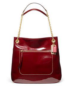 COACH POPPY PATENT LEATHER SLIM TOTE - COACH - Handbags & Accessories - Macy's